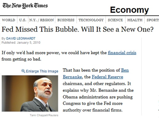 New York Times Article - Fed Missed This Bubble - Will It See a New One - Ben Bernanke Federal Reserve