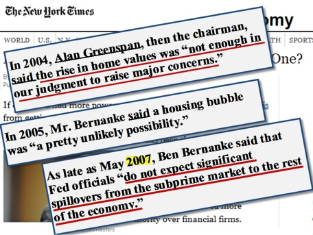New York Times Articles Proving Ben Bernanke and Alan Greenspan  Were Wrong