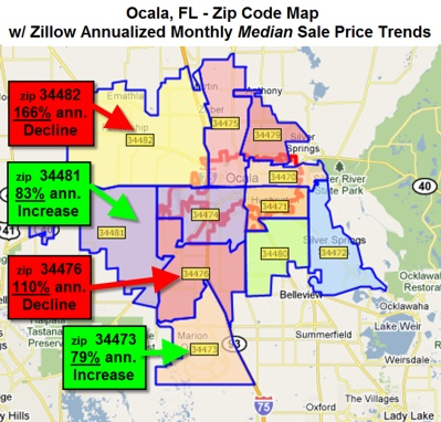 Ocala Florida-Zip Code Map-Zillow Annualized Monthly Median Sale Price Trends
