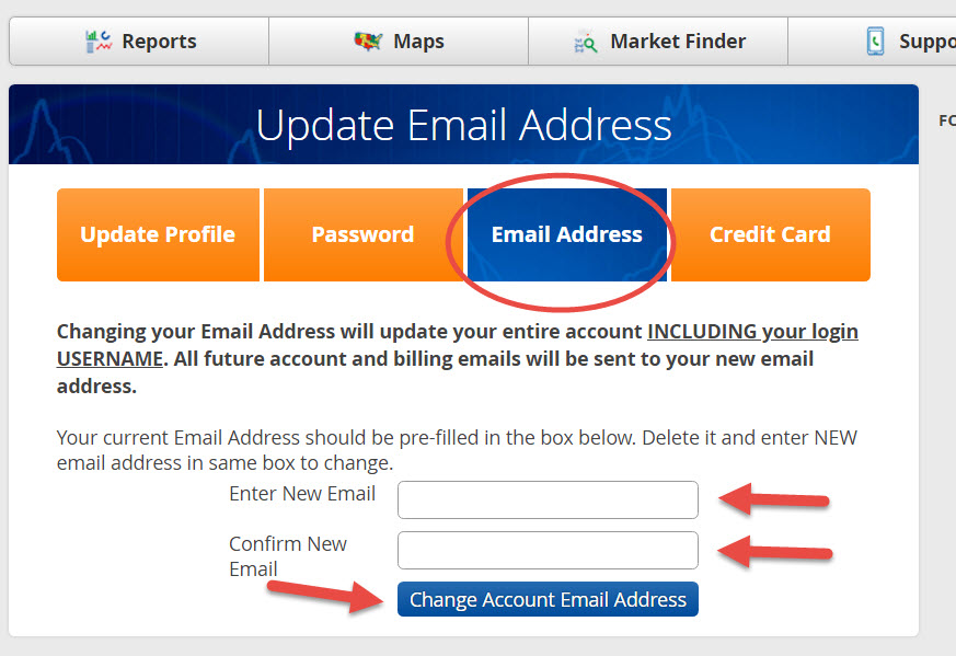 Update Email Address - Step 2