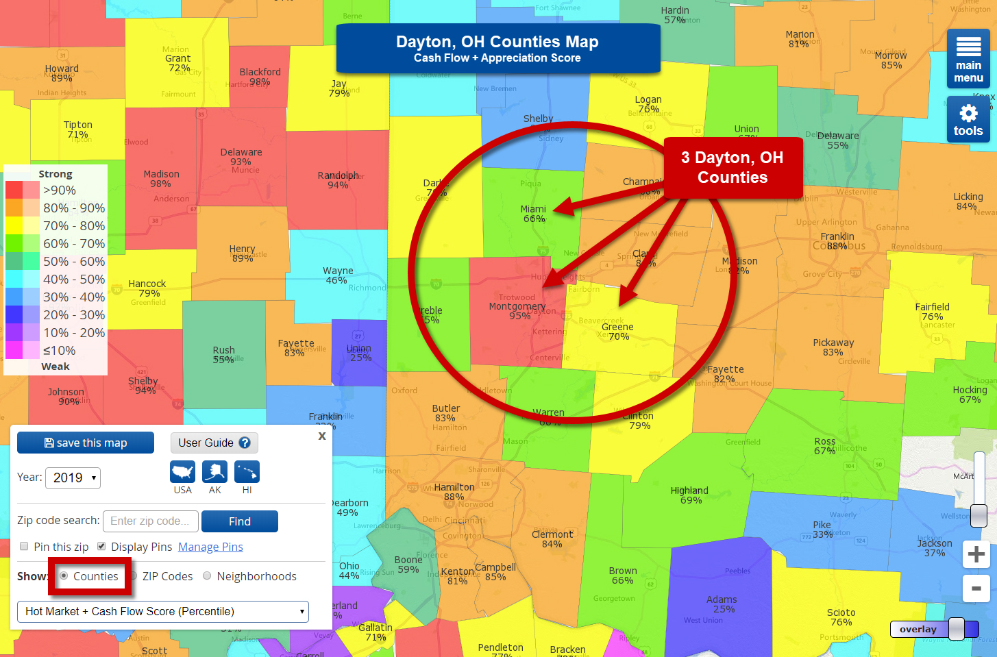 3 High Appreciation/Cash Flow Real Estate Markets in Dayton, OH counties